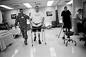 Washington DC.District of Columbia.USA.March 23, 2007..Walter Reed Medical Center Physical Therapy room on any given morning is full with patients working on machines, trying on new prosthesis or undergoing examinations.