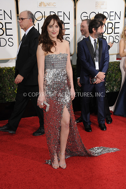 WWW.ACEPIXS.COM<br /> <br /> January 11 2015, LA<br /> <br /> Dakota Johnson arriving at the 72nd Annual Golden Globe Awards at The Beverly Hilton Hotel on January 11, 2015 in Beverly Hills, California.<br /> <br /> <br /> By Line: Peter West/ACE Pictures<br /> <br /> <br /> ACE Pictures, Inc.<br /> tel: 646 769 0430<br /> Email: info@acepixs.com<br /> www.acepixs.com