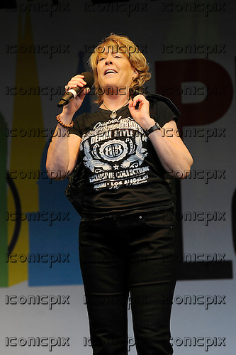 KATRINA Leskanich - vocalist with Katrina and the Waves - performing at Pride London in Trafalgar Square London UK - 28 Jun 2014.  Photo credit: Zaine Lewis/IconicPix