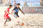 TABATA Teruki of Japan fights for the ball with AL SAUTI Abdullah Mahsoud Salim of Oman during the Beach Soccer Men's Team Gold Medal Match between Japan and Oman on Day Nine of the 5th Asian Beach Games 2016 at Bien Dong Park on 02 October 2016, in Danang, Vietnam. Photo by Marcio Machado / Power Sport Images