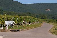 road sign vineyard gueberschwihr schauenberg pfaffenheim alsace france