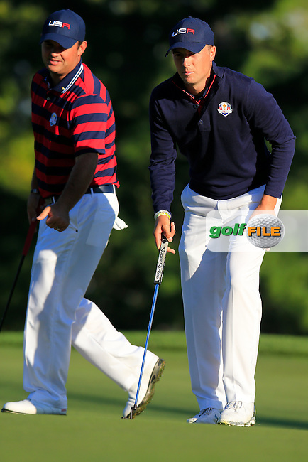 Patrick Reed and Jordan Spieth US Team line up their putt on the 3rd green during Saturday Morning Foursomes Matches of the 41st Ryder Cup, held at Hazeltine National Golf Club, Chaska, Minnesota, USA. 1st October 2016.<br /> Picture: Eoin Clarke | Golffile<br /> <br /> <br /> All photos usage must carry mandatory copyright credit (&copy; Golffile | Eoin Clarke)