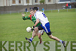 St Mary's John Golden's forward momentum was enough to take him through this challenge from St Michaels/Foilmore Sean O'Connor.