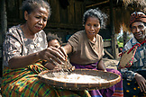 INDONESIA, Flores, a family sorts through rice in front of their home in Kampung Tutubhada village in Rendu