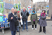 A ribbon cutting ceremony was held Sunday morning for the newly redesigned Sycamore Play Lot located at 51st and Greenwood.<br /> <br /> 9735 &ndash; Mayor Rahm Emanuel spoke while Fourth Ward Alderman, Will Burns, Superintendent of the Chicago Park District, Michael Kelly, Minister Sylvia Jones of Friends of the Park and Jackson Park Advisory Council President, Loise Mcurry stood by.