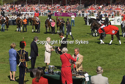 HRH Camilla the Duchess of Cornwall presenting a silver trophy to William Fox Pitt. Fox-Pitt at the Badminton Horse Trials Gloucestershire UK. Prize giving.