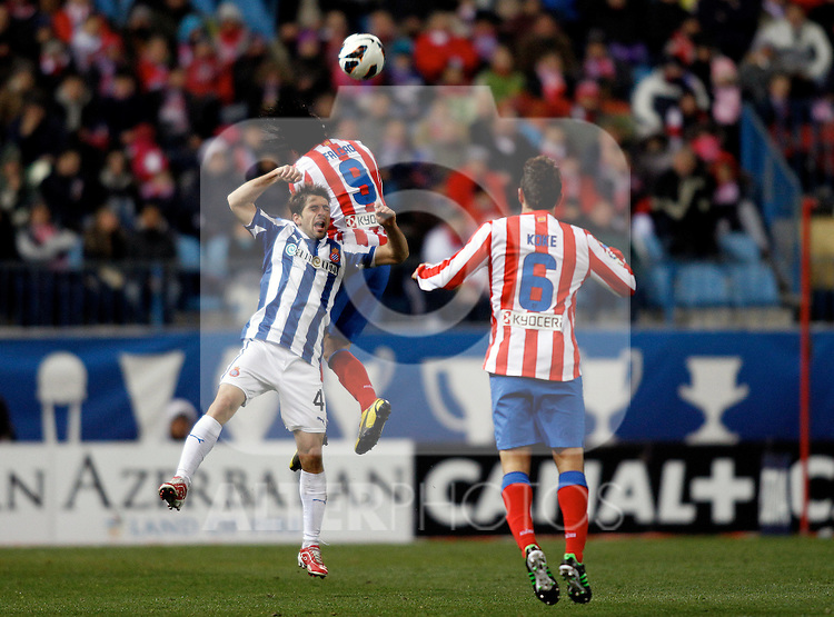 Atletico de Madrid's Radamel Falcao, Koke and Espanyol's V.Sanchez during La Liga  match. February 24,2013.(ALTERPHOTOS/Alconada)