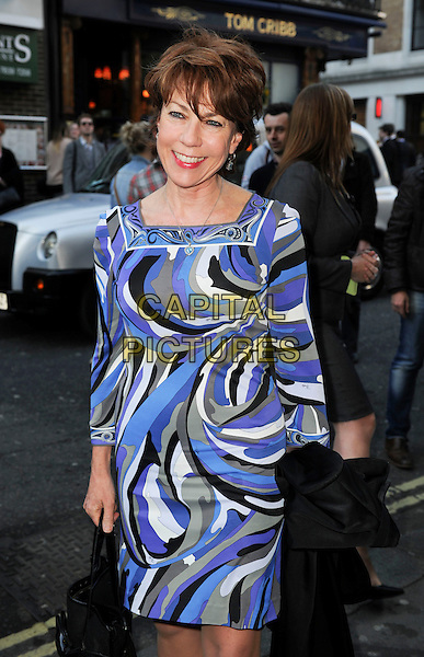Kathy Lette.'Merrily We Roll Along' Press Night at the Harold Pinter Theatre, London, England..May 1st 2013.half length black white blue purple pattern dress.CAP/GM/PP.©Gary Mitchell/PP/Capital Pictures.