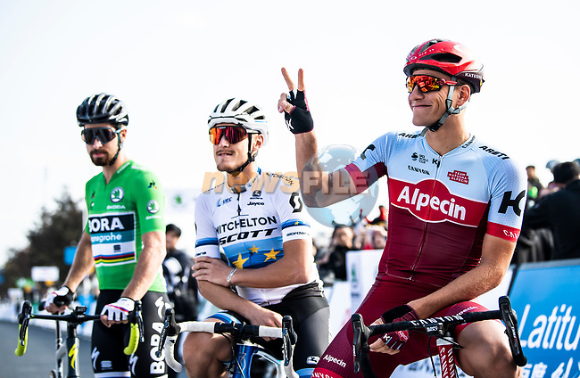Green Jersey Peter Sagan (SVK) Bora-Hansgrohe, European Champion Matteo Trentin (ITA) Mitchelton-Scott and Marcel Kittel (GER) Team Katusha Alpecin before the start of the 2018 Shanghai Criterium, Shanghai, China. 17th November 2018.<br /> Picture: ASO/Alex Broadway | Cyclefile<br /> <br /> <br /> All photos usage must carry mandatory copyright credit (© Cyclefile | ASO/Alex Broadway)