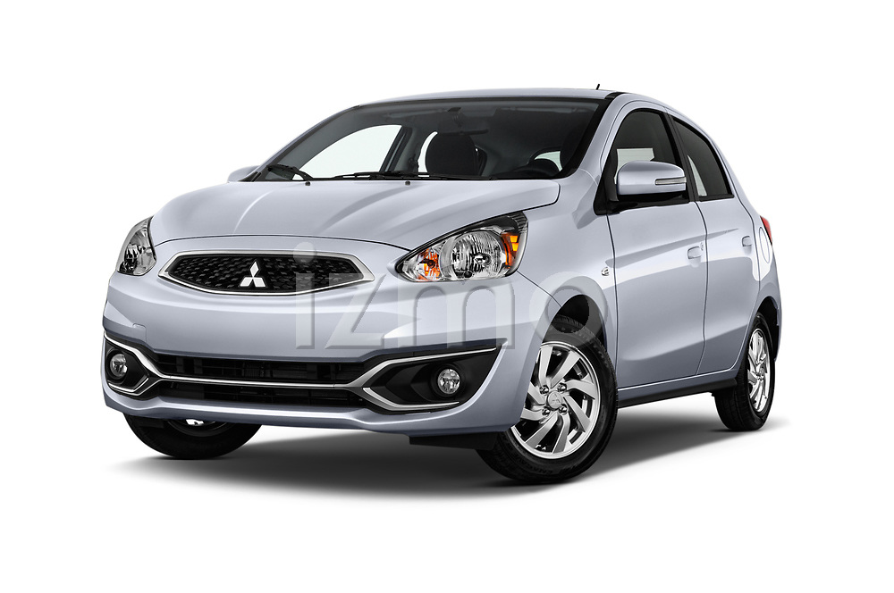 Stock pictures of low aggressive front three quarter view of 2018 Mitsubishi Mirage SE 5 Door Hatchback Low Aggressive