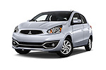 Stock pictures of low aggressive front three quarter view of 2017 Mitsubishi Mirage SE 5 Door Hatchback Low Aggressive