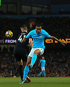 3rd December 2017, Etihad Stadium, Manchester, England; EPL Premier League football, Manchester City versus West Ham United; Danilo of Manchester City  crosses the ball as Declan Rice of West Ham presses