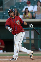 Rene Garcia #10 of the Lancaster JetHawks bats against the Stockton Ports at Clear Channel Stadium on July 8, 2012 in Lancaster, California. Lancaster defeated Stockton 10-8. (Larry Goren/Four Seam Images)