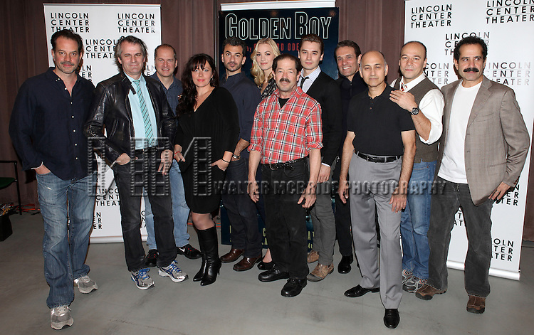 Danny Mastrogiorgio, Director Bartlett Sher, Daniel Jenkins, Dagmara Dominczyk, Michael Aronov, Yvonne Strahovski, Jonathan Hadary, Seth Numrich, Anthony Crivello, Ned Eisenberg, Danny Burstein and Tony Shalhoub attending the Meet & Greet for the Lincoln Center Theater's 75th Anniversary Production of 'Golden Boy' at their Rehearsal Studios on 10/25/2012 in New York.