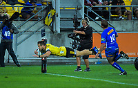 Wes Goosen scores his first try during the Super Rugby match between the Hurricanes and Stormers at Westpac Stadium in Wellington, New Zealand on Saturday, 23 March 2019. Photo: Dave Lintott / lintottphoto.co.nz