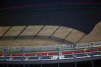 aerial photograph of stadium lighting top of INVESCO Field at Mile High Denver, Colorado