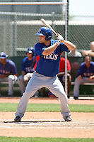 Mitch Hilligoss #23 of the Texas Rangers plays in an extended spring training game against the San Diego Padres at the Rangers minor league complex on April 16, 2011  in Surprise, Arizona. .Photo by:  Bill Mitchell/Four Seam Images.
