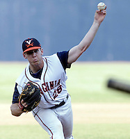 Virginia pitcher Kevin Doherty (28) throws the ball during the game against James Madison University Tuesday in Charlottesville, VA.  Photo/The Daily Progress/Andrew Shurtleff
