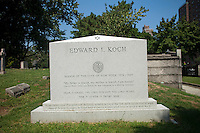The tombstone of former NYC Mayor Edward I. Koch, who is not dead yet, in the Trinity Church Cemetery and Mausoleum in the New York neighborhood Washington Heights, seen on Thursday, September 2, 2010. Koch wanted to be buried in Manhattan and the historic graveyard, dating back to 1843 is the only active cemetery left in Manhattan. (©Frances M. Roberts)