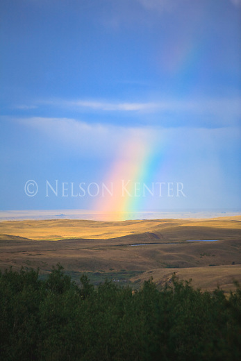 The end of the rainbow on prairie land in Montana