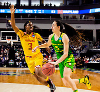 3/25/17 NCAA Bridgeport, CT. The Oregon Lady Fighting Ducks upset Maryland in the sweet sixteen in Bridgeport to earn the right to play UCONN [110 straight victories] in the elite eight with a 77-63 route.