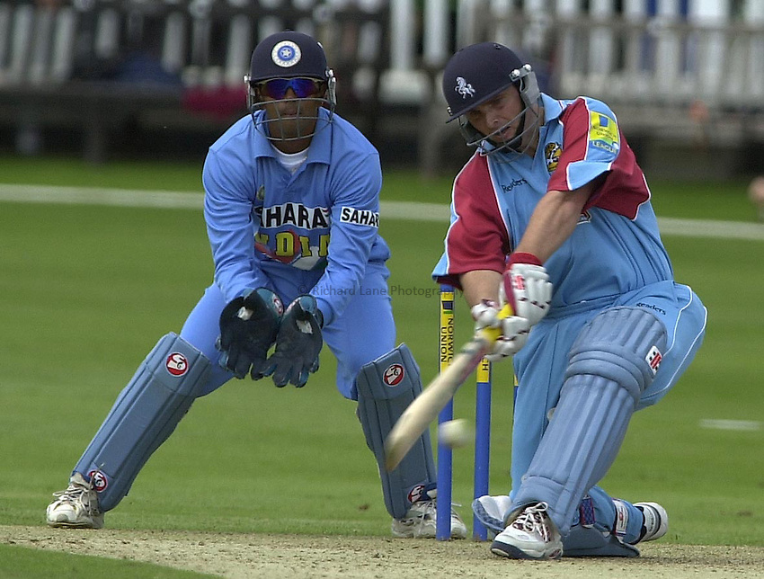 Photo Peter Spurrier.24/06/02.One day Match. Kent vs India at Canterbury..Mark Ealham plays a sweep.