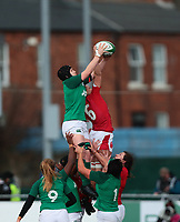 9nd February 2020; Energia Park, Dublin, Leinster, Ireland; International Womens Rugby, Six Nations, Ireland versus Wales; Ciara Griffin (Captain Ireland) and Alisha Butchers (Wales) contest in the air for the lineout ball