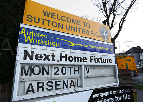 February 20th 2017, The Borough Sports Ground, Sutton, Surrey, England; FA Cup 5th Round football, Sutton United versus Arsenal FC; A general view of The Borough Sports Ground entrance sign