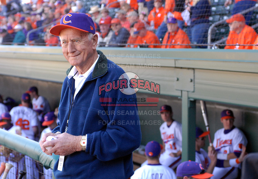 Former Clemson head coach Bill WIlhelm stands in the dugout before a game between the Clemson Tigers and South Carolina Gamecocks Saturday, March 6, 2010, at Fluor Field at the West End in Greenville, S.C. Photo by: Tom Priddy/Four Seam Images
