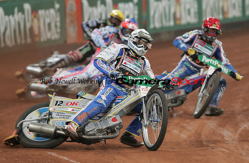 Heat 8 - Bjarne Pedersen (White) leads Jason Crump (Blue), Tomasz Gollob (Red) and Scott Nicholls (Yellow) - German Speedway Grand Prix at the Veltins Arena, Gelsenkirchen - 13/10/07 - MANDATORY CREDIT: Rob Newell/TGSPHOTO