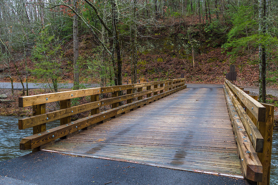 Wooden Bridge over Little Greenbrier Road in the Great Smoky Mountains National Park in Tennessee