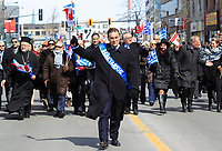 Le Liberal Leo Housakos<br />  au defile de la Fete national grecque<br /> , le 29 mars 2015<br /> <br /> PHOTO :  Agence Quebec Presse