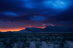Lightning strikes over Tularosa Valley, New Mexico