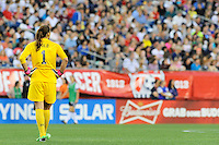 US Women's National goalkeeper Hope Solo (1) in action during the International Friendly soccer match between the USA Women's National team and the Korea Republic Women's Team held at Gillette Stadium in Foxborough Massachusetts.   Eric Canha/CSM