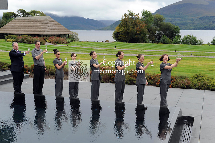 ESPA at The Europe in Killarney was named the  'Best Spa&rsquo; at the Hotel &amp; Catering Review Gold Medal Awards 2014 which took place in the Doubletree by Hilton Hotel in Dublin this week. Pictured at the spa celebrating the success are ESPA Manager Nicole Barry in front with from right, Louise O'Dowd, Ciara Power, Barbara Kovacs, Clara O'Sullivan, Valerie Shine, Michael Lyndsey, and Michael Brennan, General Manager.<br /> Picture by Don MacMonagle<br /> <br /> PR PHOTO REPRO FREE