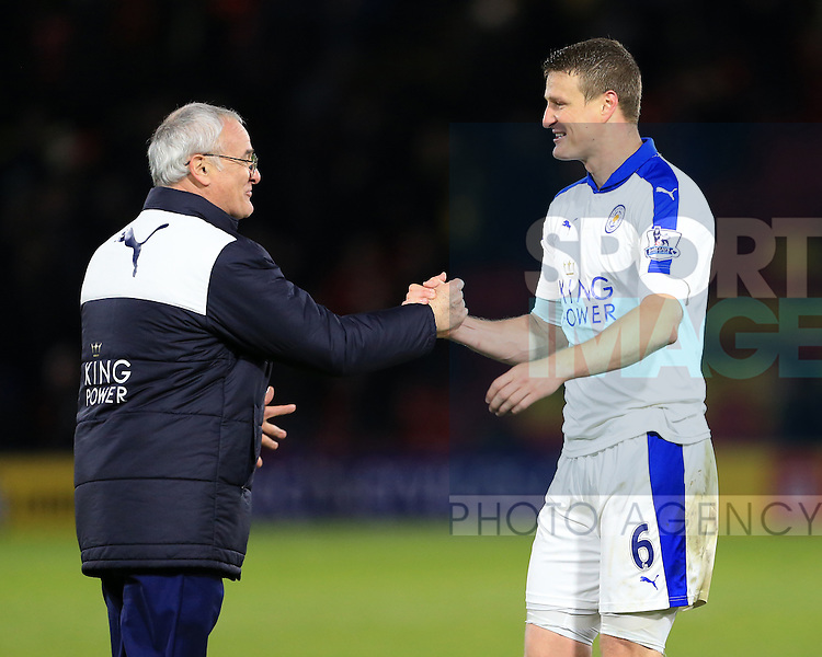 Leicester City's Claudio Ranieri celebrates at the final whistle with Robert Huth<br /> <br /> - English Premier League - Watford vs Leicester City  - Vicarage Road - London - England - 5th March 2016 - Pic David Klein/Sportimage