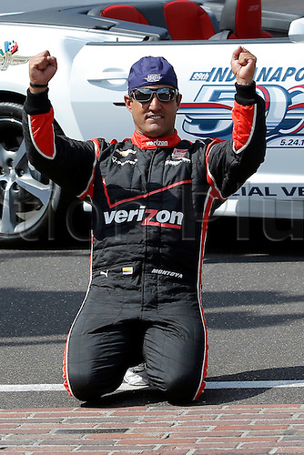 25.05.2015. Indianapolis, IN, USA.  Verizon IndyCar Series driver Juan Montoya (2) celebrates his second Indianapolis 500 victory at the yard of bricks after the 99th running of the Indianapolis 500 at the Indianapolis Motor Speedway Indianapolis, IN.