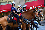 Cleveland, OH - July 19, 2016: Horse mounted police officers from various police departments stage at the intersection of South Rodeway and Ontario streets, across from Public Square in downtown Cleveland, Ohio, during the Republican National Convention in Cleveland, July 19, 2016.  (Photo by Don Baxter/Media Images International)