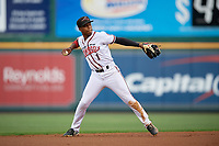 Richmond Flying Squirrels second baseman Jalen Miller (1) throws to first base during an Eastern League game against the Binghamton Rumble Ponies on May 29, 2019 at The Diamond in Richmond, Virginia.  Binghamton defeated Richmond 9-5 in ten innings.  (Mike Janes/Four Seam Images)