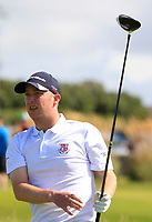 Sean Poucher (Limerick) on the 1st tee during the Munster Final of the AIG Senior Cup at Tralee Golf Club, Tralee, Co Kerry. 12/08/2017<br /> <br /> Picture: Golffile | Thos Caffrey<br /> <br /> All photo usage must carry mandatory copyright credit     (&copy; Golffile | Thos Caffrey)