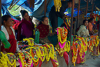 Selling flowers and other items at the entrance of the temple at Dakshinkall Bungamati, Khokana Animal sacrifice Temple, Kathmandu, Nepal