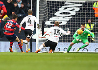17th March 2018, Craven Cottage, London, England; EFL Championship football, Fulham versus Queens Park Rangers; Pawel Wszolek of Queens Park Rangers shoots to scores his sides 2nd goal in the 80th minute to make it 2-2