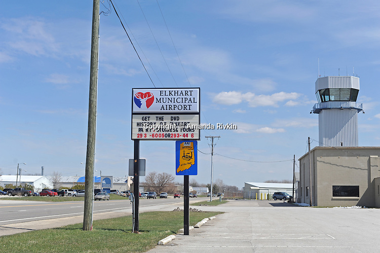 "The new terminal sign and air traffic control at the Elkhart Municipal Airport in Elkhart, Indiana on April 8, 2009.  As part of the ""bail out"" funds, one of two runways will be repaired; airport manager Andy  Jones said he had to turn down the request from Air Force One and the president's advance staff, citing the weight of the aircraft and the fragile state of the runways, to land at Elkhart Municipal Airport."