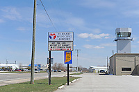 """The new terminal sign and air traffic control at the Elkhart Municipal Airport in Elkhart, Indiana on April 8, 2009.  As part of the """"bail out"""" funds, one of two runways will be repaired; airport manager Andy  Jones said he had to turn down the request from Air Force One and the president's advance staff, citing the weight of the aircraft and the fragile state of the runways, to land at Elkhart Municipal Airport."""