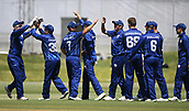6th December 2017, Eden Park, Auckland, New Zealand; Ford Trophy One Day Cricket, Auckland Aces versus Canterbury Wizards;  Auckland players celebrate the wicket of Bowes
