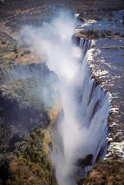 Aerial view of Zambezi River at Victoria Falls, Zambia.