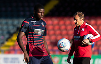 Bolton Wanderers' Yoan Zouma warming up before the match <br /> <br /> Photographer Andrew Kearns/CameraSport<br /> <br /> The Carabao Cup First Round - Rochdale v Bolton Wanderers - Tuesday 13th August 2019 - Spotland Stadium - Rochdale<br />  <br /> World Copyright © 2019 CameraSport. All rights reserved. 43 Linden Ave. Countesthorpe. Leicester. England. LE8 5PG - Tel: +44 (0) 116 277 4147 - admin@camerasport.com - www.camerasport.com