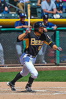 Kyle Kubitza (13) of the Salt Lake Bees at bat against the El Paso Chihuahuas in Pacific Coast League action at Smith's Ballpark on April 24, 2016 in Salt Lake City, Utah. This was Game 1 of a double-header.  El Paso defeated Salt Lake 7-0. (Stephen Smith/Four Seam Images)