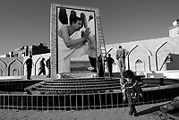 Baghdad, Iraq, March 14, 2003.A new fountain to the glory of Saddam Hussein in front of the Al Khaddamein mosq, one of the most important Shia'i shrines in Iraq.