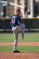 Cleveland Indians relief pitcher Skylar Arias (43) during a Minor League Spring Training game against the San Francisco Giants at the San Francisco Giants Training Complex on March 14, 2018 in Scottsdale, Arizona. (Zachary Lucy/Four Seam Images)